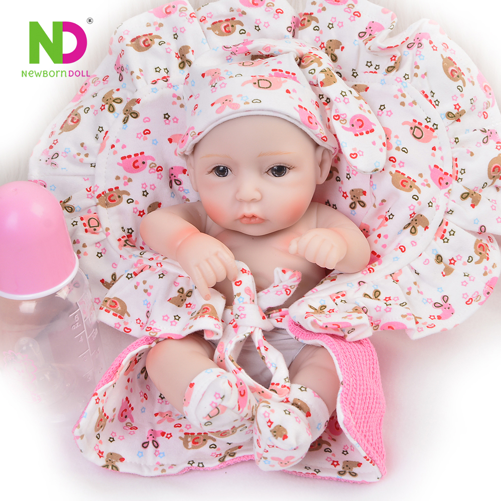 Mini 11 inch Doll Reborn Babies Girl Full Silicone Vinyl Body Truly New Born Baby Toy 27 cm Peanut Doll 2018 Kids Birthday Gift