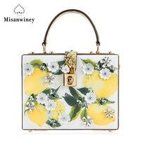 Misanwiney Luxe merk ontwerp vrouwelijke zomer lederen harde dag doos clutch bag koe lederen lemon print bloem diamant