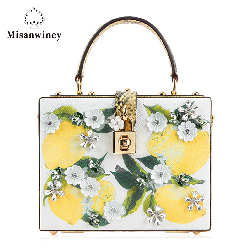 Misanwiney Luxury brand design female summer genuine leather hard box day clutch bag cow leather lemon print flower diamond lemon design chain bag
