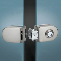 Brand New Stainless Steel Frameless Double Glass Door Lock Bidirectional Unlock Glass Door Latches w Keys for 10~12mm Glass