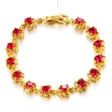 Нежный браслет с красным цирконием для женщин и девушек ювелирных