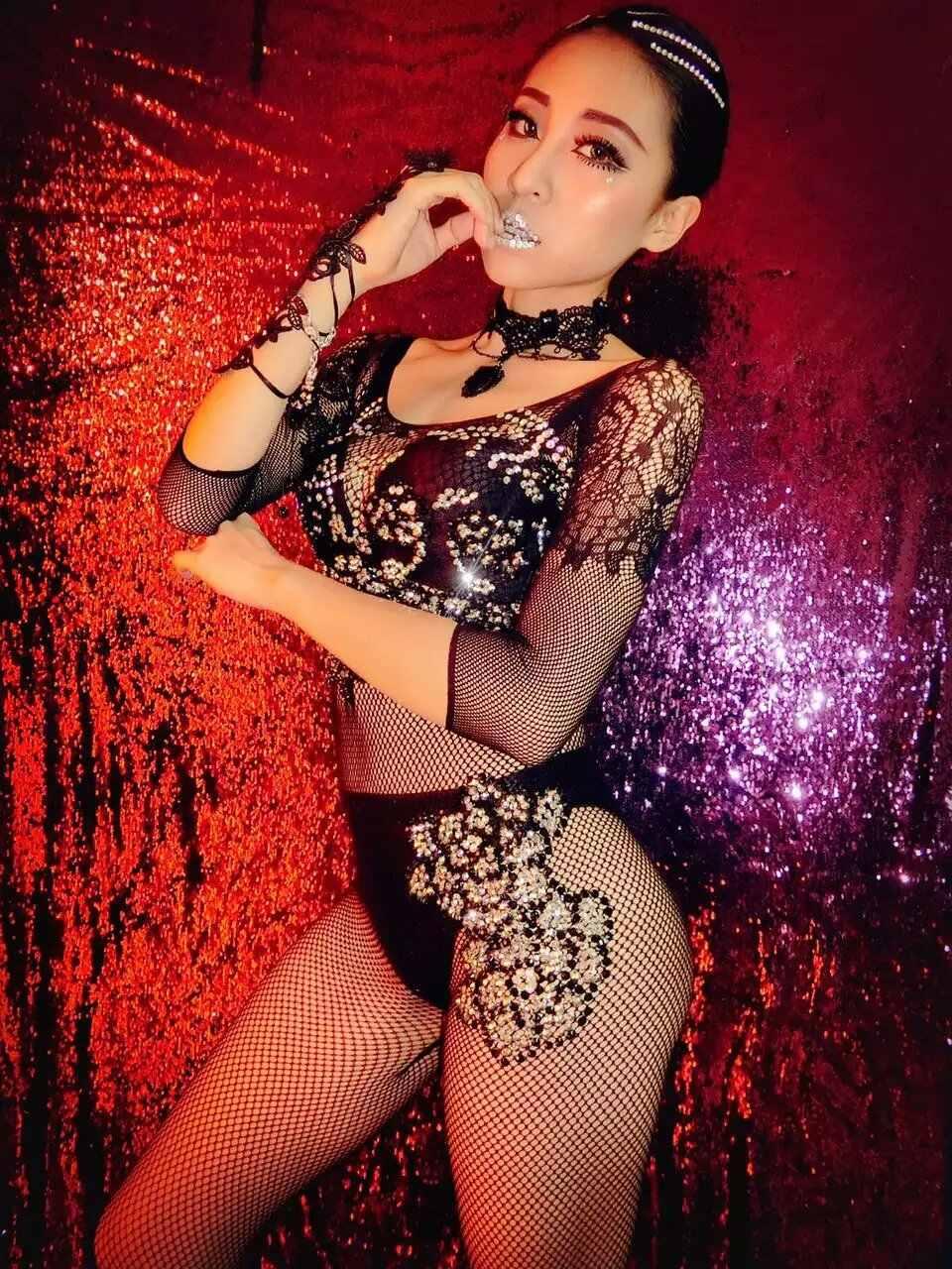 Пикантные черные сапоги чистая блестки концептуальный комбинезон рукава средней длины трико одежда певица танец этап яркий костюм вечерние платье