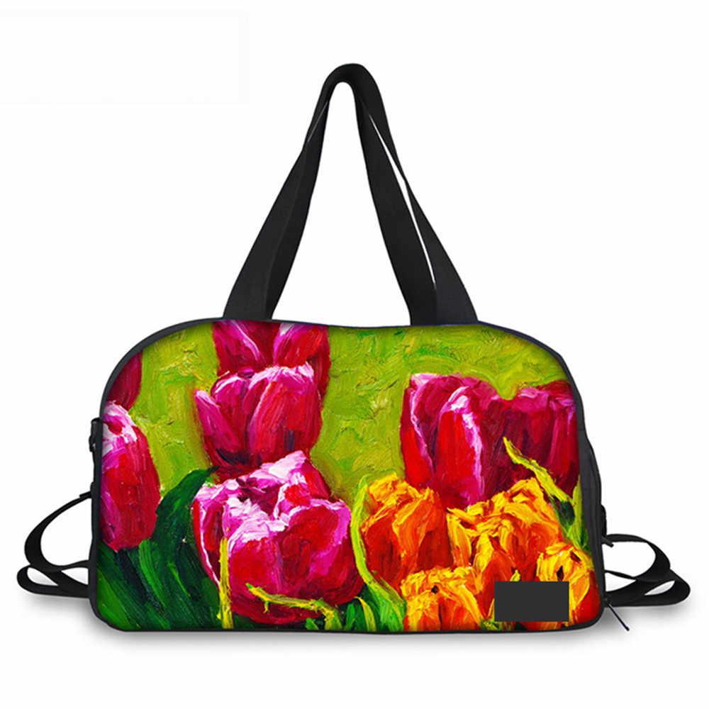 Noisy Designs 3D с напечатанным узором цветов Женская сумка для путешествий для женщин 2018 сумка для багажа большая путешествие на выходные