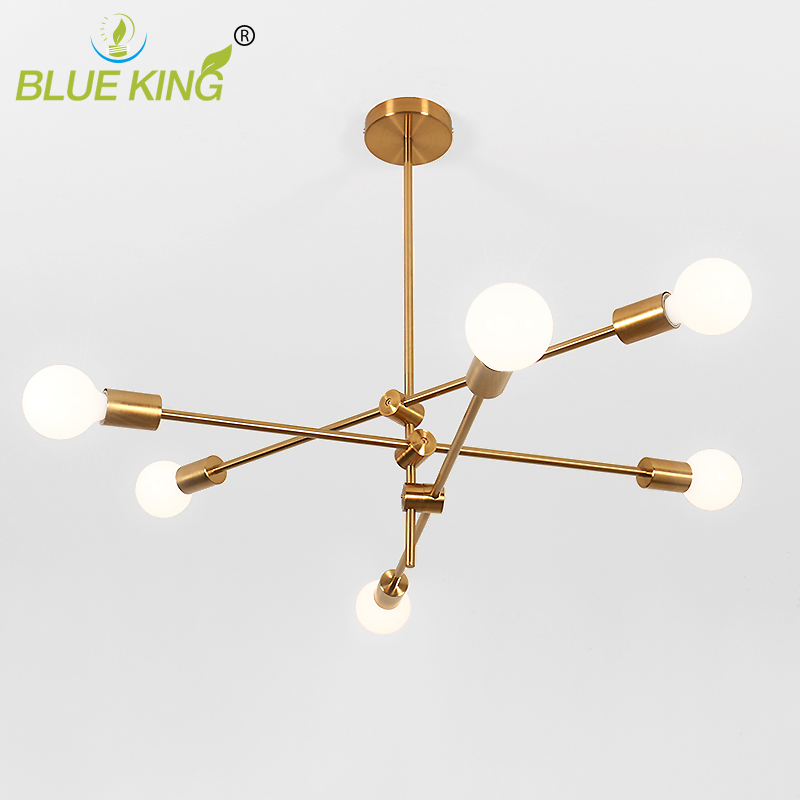 Gold color personality modern iron chandelier for Cafe Restaurant Living room Decoration Nordic Lamp 2/4/6 heads E27 6 e27 heads nordic post modern designer originality personality art living bed room cafe fashion led chandelier home decor light