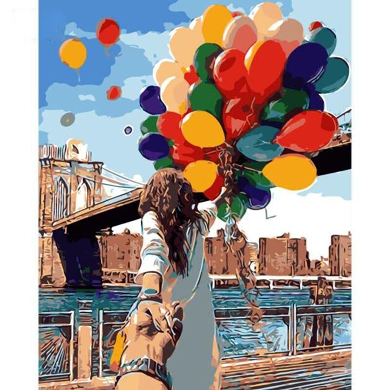 Романтический любителей берег реки красочные водорода шар голубое небо веревочный мост для декора Гостиная фото по номерам для нового дома ...