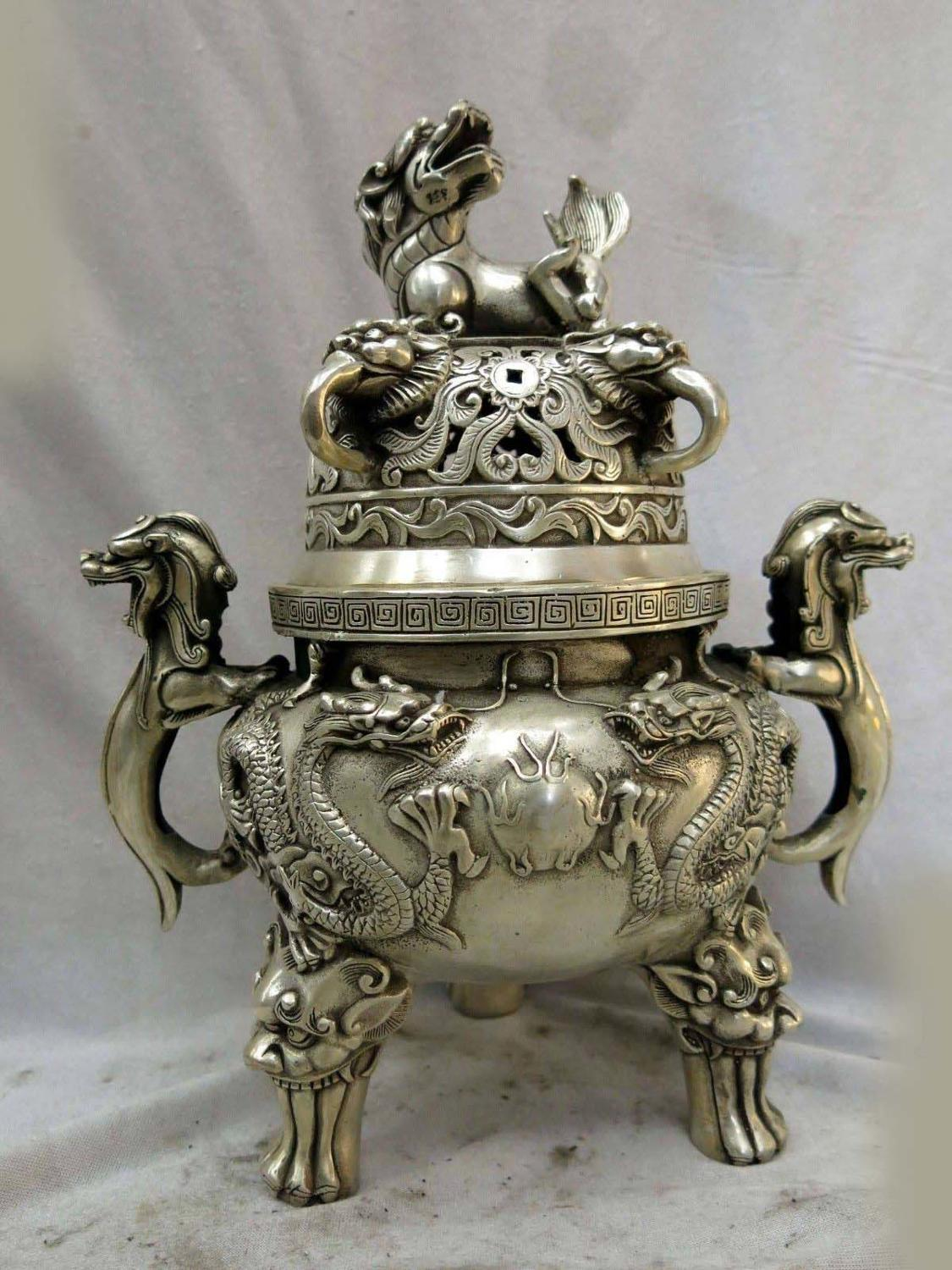 11 China silver two dragons play bead Foo Dogs Lion censer Incense burner (D0426)11 China silver two dragons play bead Foo Dogs Lion censer Incense burner (D0426)