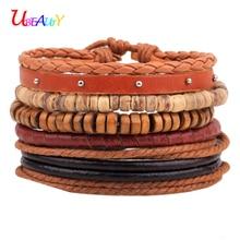 Leather bracelet 5pcs/set fashion OL jewelry Retro Wood beads bracelet female men Rivets bracelet Love bracelets for women
