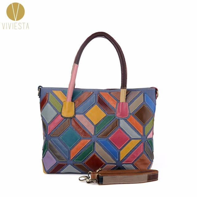 GEOMETRIC PATCHWORK GENUINE LEATHER TOTE - Women s Top Quality Fashion  Rainbow Extra Large A4 Size Spacious Shoulder Bag Handbag 854be2179ee92