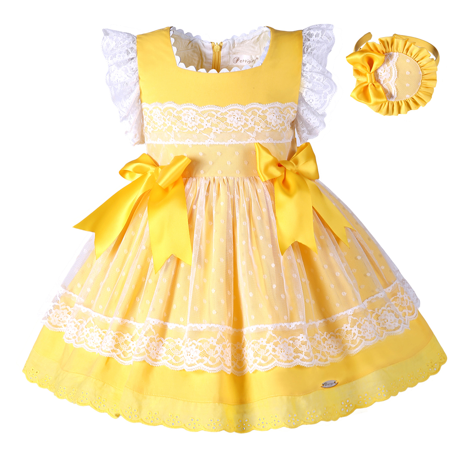 Pettigirl Wholesal New Easter Summer Dress Yellow Boutique Girl Vestidos With Baby Headband Kid Clothes For