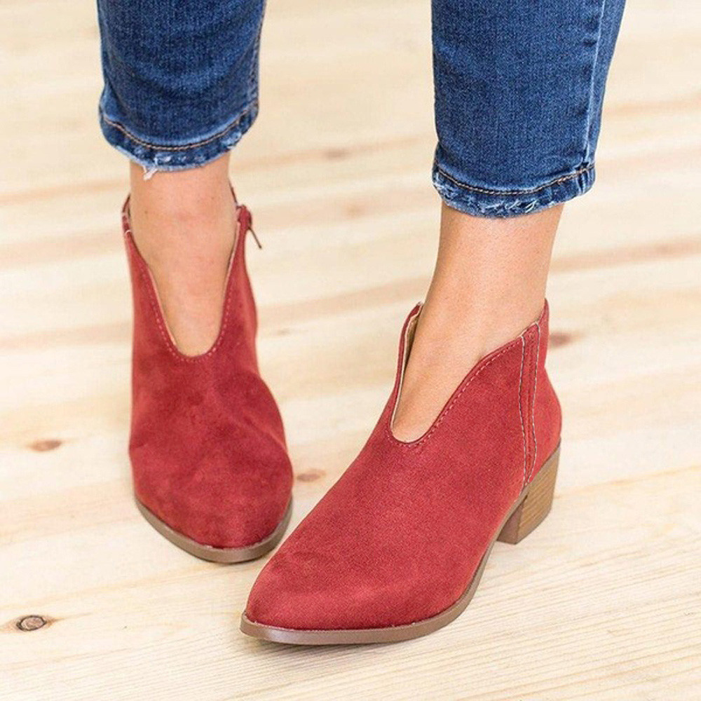 6e6275f0d9f6 Cheap Ankle Boots, Buy Directly from China Suppliers:MUQGEW Retro Women  Square Heel Solid