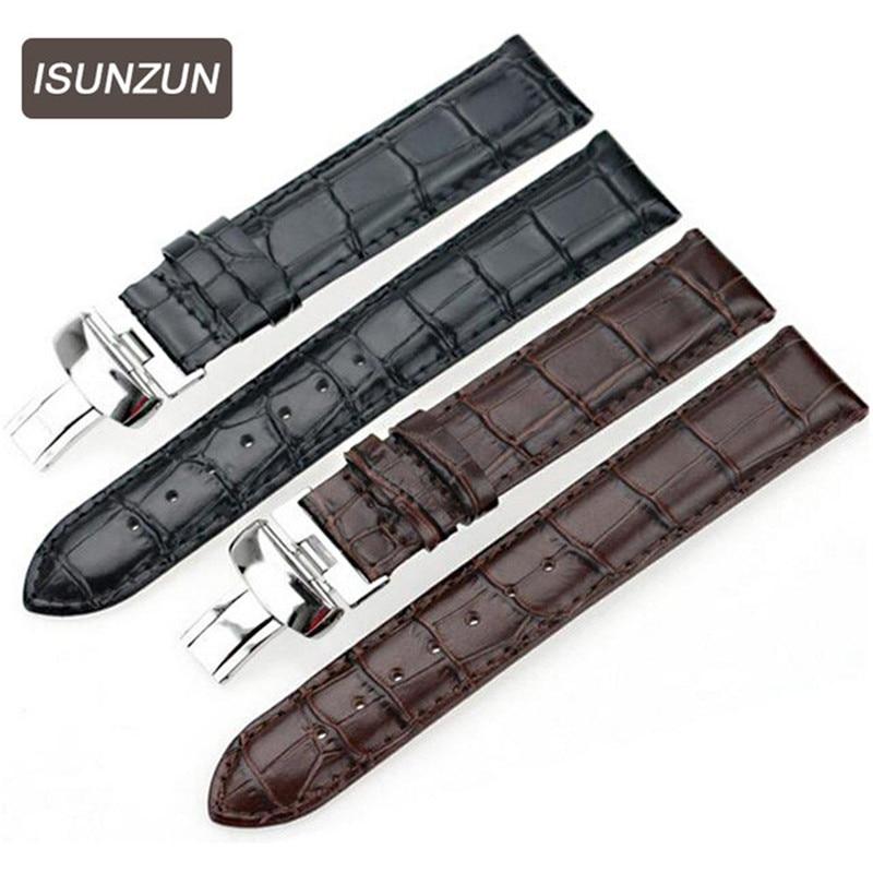 ISUNZUN laikrodžių juosta vyrams ir akims, skirtiems audinių audiniams T059507A 528A juodos odos laikrodžių dirželių laikrodžiai, aksesuarai, laikrodžių juostos