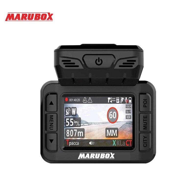 Marubox M620R voiture dvr détecteur de radar gps 3 dans 1 HD1296P 170 Degrés Angle Russe Langue Vidéo Enregistreur enregistreur de livraison gratuite