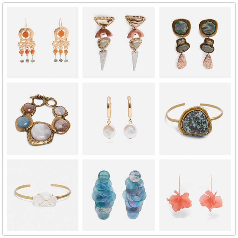 JURAN ZA Design 2019 Vintage Ethnic Natural Stone Dangle Earrings Boho Hanging Drops Earring For Women Statement Jewelry