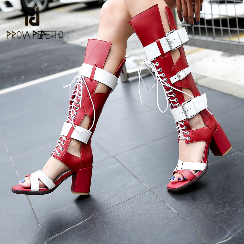 Prova Perfetto Fashion Women Summer Boots Lace Up Chunky High Heel Sandals Hollow Out Knee High Boots Straps Gladiator Sandal prova perfetto design women gladiator sandals summer boots sexy chunky high heels hollow out strap sandal women pumps ankle boot