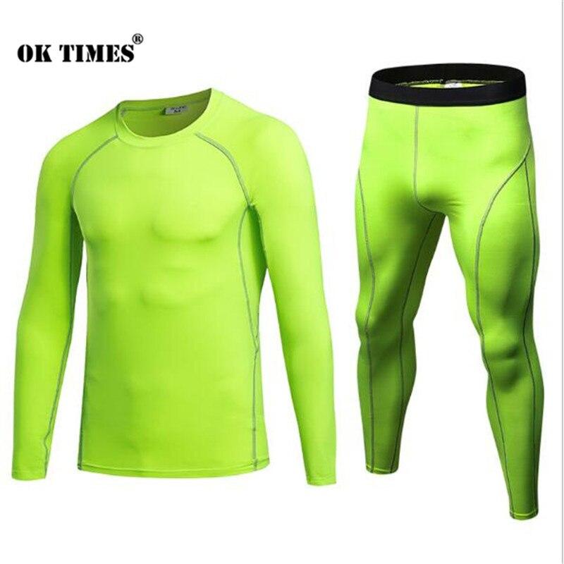 #3930 Sporttraining Yoga Lauf Athletisch Turnschuhe Männer Hohe Elastizität Kompression Thermische Strumpfhosen Hosen + T Shirts Tops Sets S ~ 2xl