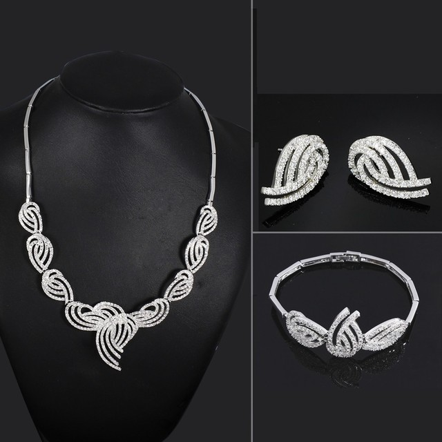 Brand New Fashion Bridal Wedding Jewelry Necklace Bracelet Earrings Set AAA Cubic Zircon Rhodium Plated Bling Bling Accessories