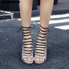 TINGHON Gladiator Sandals Women High Heels Sexy Party Shoes Lace-Up Snakeskin Thin Heels Ladies Female Sandals Woman Shoes недорого