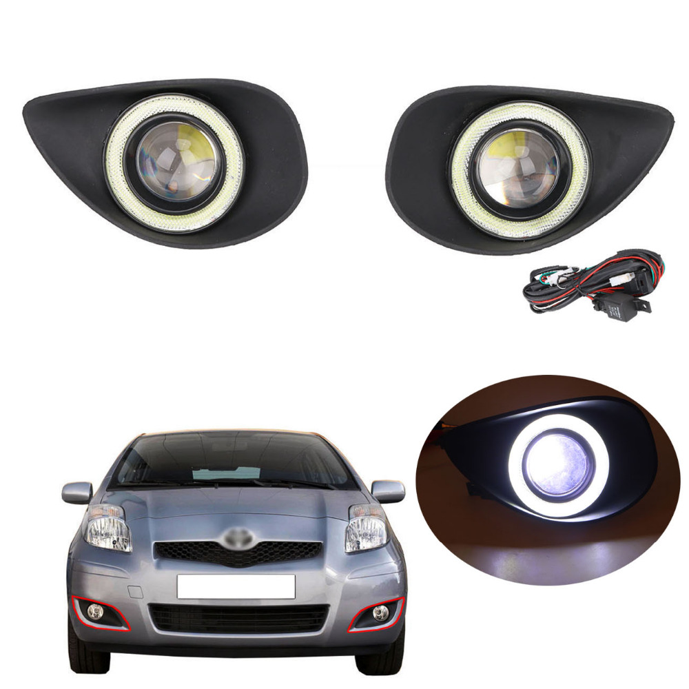 1Set Car Lateral LED COB Angel Eyes + Projector Lens Foglights Fog Lamps for Toyota Yaris 2007 2008 2009 #PDK620 fog light set fog lights lamp for toyota yaris hatchback 2009 on clear lens pair set wiring kit free shipping