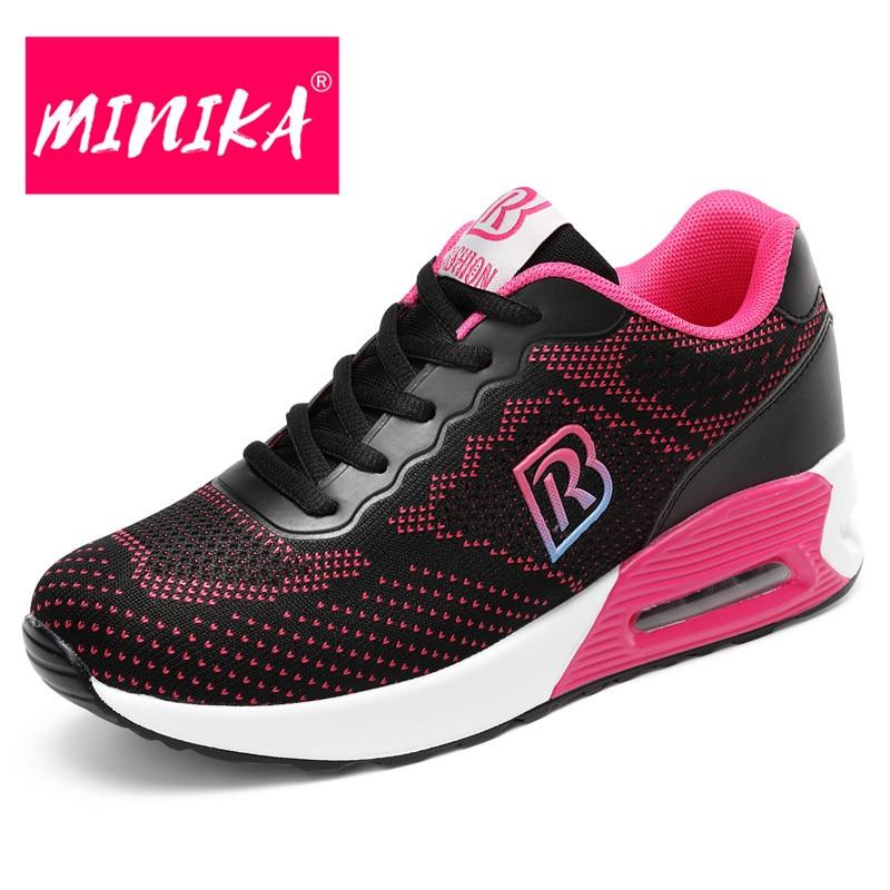 MINIKA Breathable Platform Sneakers Women Multi Colors Optional Lace Up Casual Shoes Women Comfortable Mesh Flat Shoes Women owl print lace up multi color sneakers