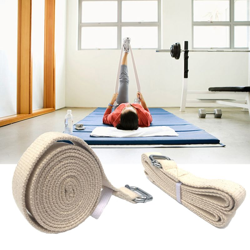 300cm Pure Cotton Pilates Women Yoga Stretch Strap Yoga Stretch Belt Opening Shoulder Chest Adjustable Fitness Exercise Gym Rope