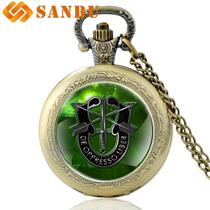 Vintage Bronze United States Special Forces Quartz Pocket Watch Retro Men Women DE Ppress Liber Pendant Necklace Clock Gift
