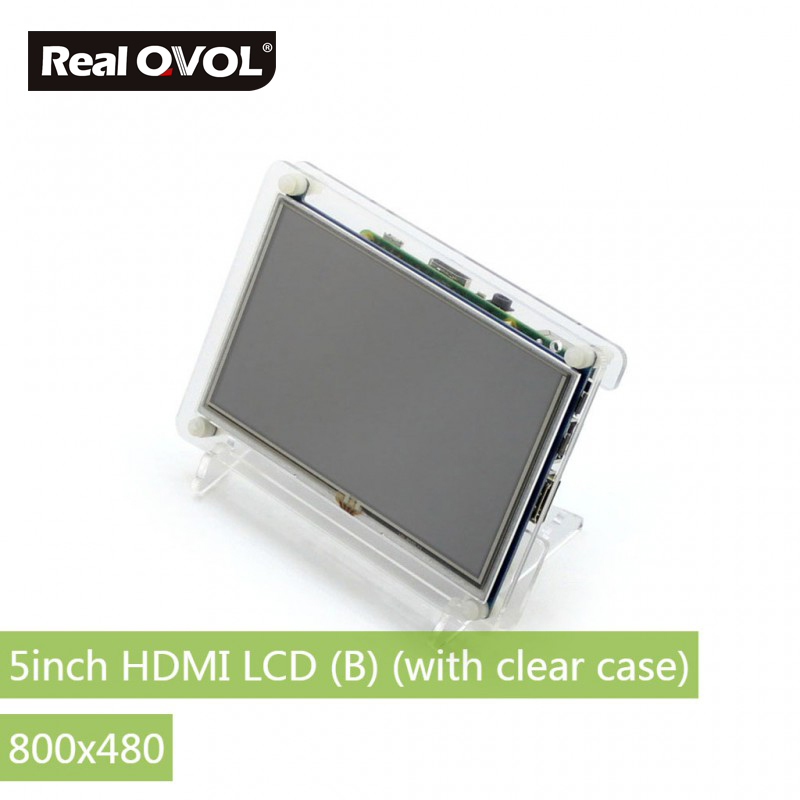 RealQvol 5inch HDMI LCD (B) (with clear case) Resistive touch control Supports Raspberry Pi Banana Pi BB Black parts raspberry pi lcd 5inch hdmi lcd b with bicolor case 800 480 touch screen supports all raspberry pi 3 b banana pi pro