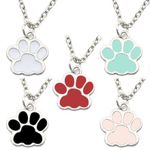 Trendy Lovely Dogs Kitten Cat Paw Claw Pendant Colorful Alloy Charms Cute Animal Feet Footprint Necklace Charm For Girls rhinestone footprint cute pendant necklace