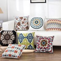 Quality Exquisite Embroidery Ethnic European Floral Flower Cotton Pillow Case Decorative Sofa Seat Car Throw Cushion