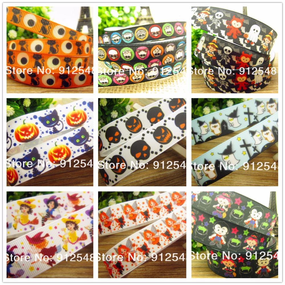 free shipping <font><b>7/8</b></font>'' (22mm) <font><b>Halloween</b></font> printed <font><b>Grosgrain</b></font> <font><b>ribbon</b></font> Polyester cartoon <font><b>Ribbon</b></font> haribow accessory gift pack,md71433 image