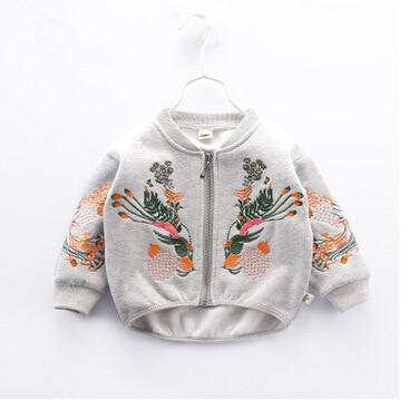 Пальто для маленьких мальчиков и девочек Высококачественная детская верхняя одежда с вышивкой на весну и осень Верхняя одежда Детские куртки для детей 2, 3, 4, 5, 6, 7, 8 лет - Цвет: Gray