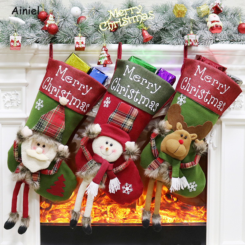 New Year Merry Christmas Sock Candy Bag Gift Bag Santa Claus Snowman Xmas Christmas Tree Stockings Decorations Home Kids Women