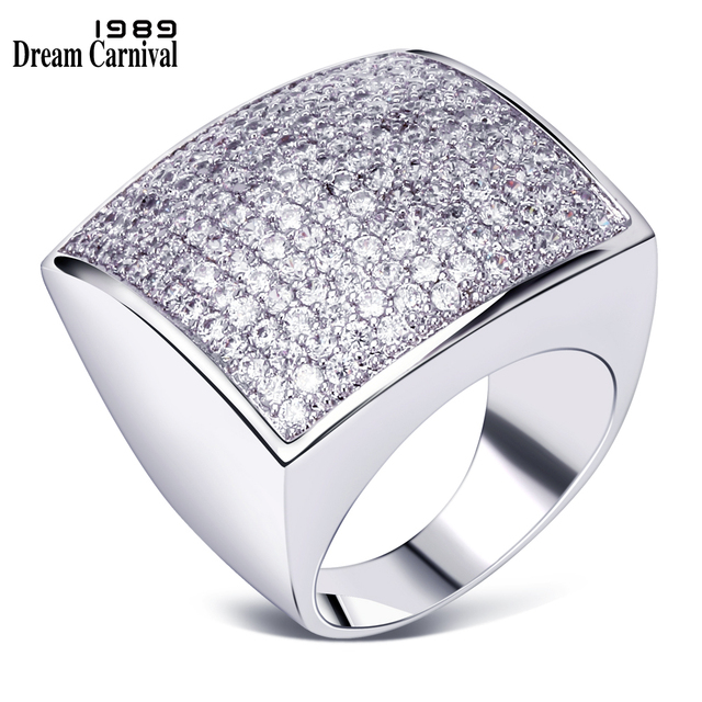 DreamCarnival 1989 Big Square Rings for Women Wedding Party Anniversary Rhodium