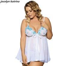 ФОТО jocelyn katrina brand sexy white  colors big size sexy sleepwear fat lingerie for women style plus size women lingerie babydoll