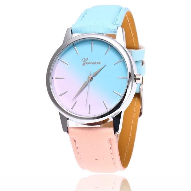 Hot Sales Women Watch Quartz Wrist Watch Rainbow Design Casual Leather Band Ladi