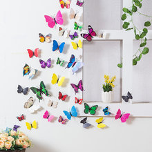 Hot sale 12pcs/lot 3d butterfly fridge magnets home decor decorative refrigerator stickers Room Decoration(China)
