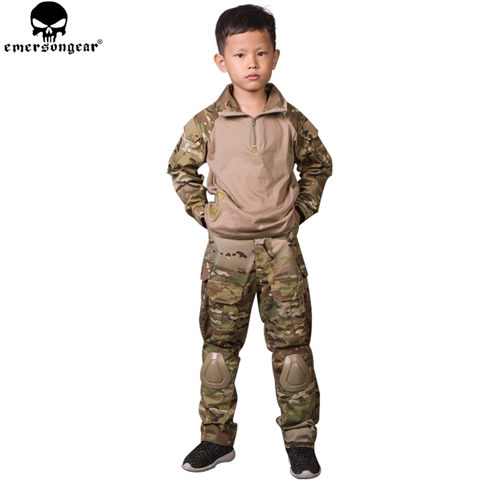 EMERSONGEAR G3 MC Children Tactical Suit Kid Camouflage Hunting Hunting Airsoft Suits Sportswear 5Y 14Y Kids