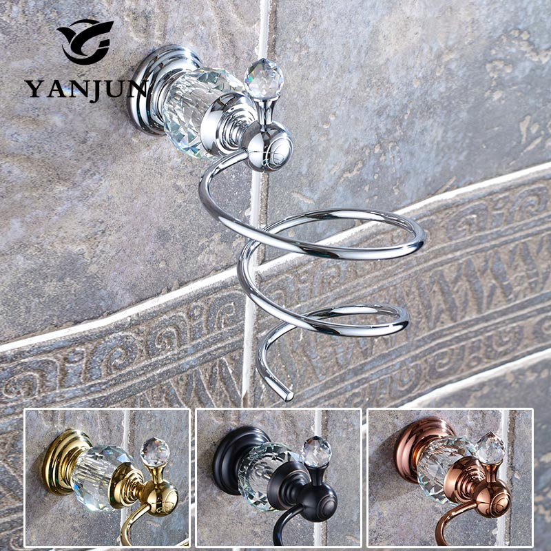 Yanjun   Brass Crystal  Wall-mounted Hairdryer Support Holder Spiral Stand Bathroom Wall Shelf  YJ-8052 the ivory white european super suction wall mounted gate unique smoke door