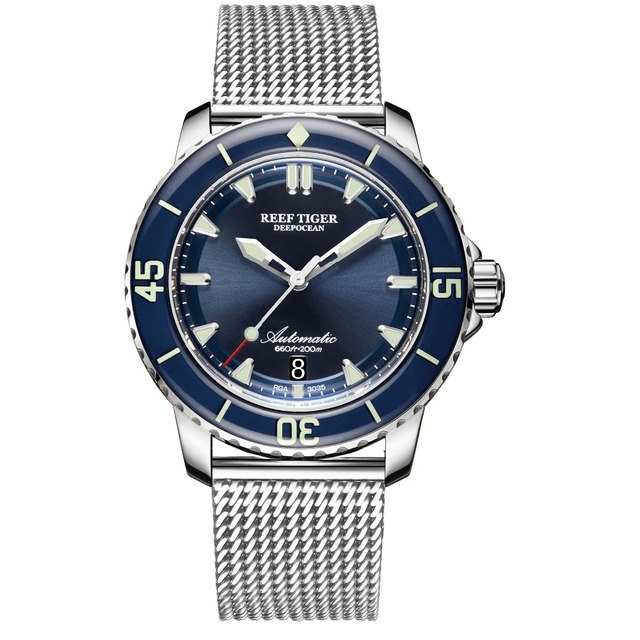 Reef Tiger/RT Top Brand Mens Mechanical Dive Watches Sapphire Crystal Bracelet Watches Blue Luminous Watch Waterproof RGA3035