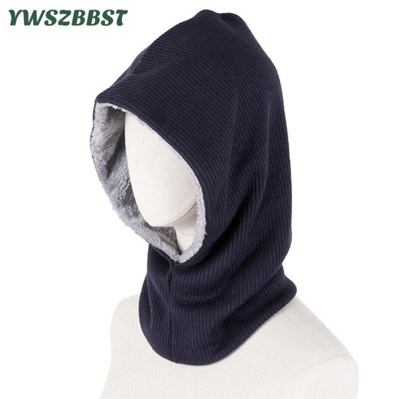 Novo inverno quente unissex malha com capuz chapéu cachecol definir outono beanies boné para mulheres masculino com capuz cachecol equitação à prova de vento ao ar livre chapéu