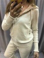 2018 ограниченное по времени предложение шерсть полный зима новый кашемир Двухсекционный Женский Повседневный свитер с капюшоном трикотажн