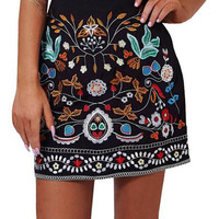 Retro Embroidery Black Floral Short Skirt Casual Autumn Winter High Waist Slim Women Skirt Vintage Mini
