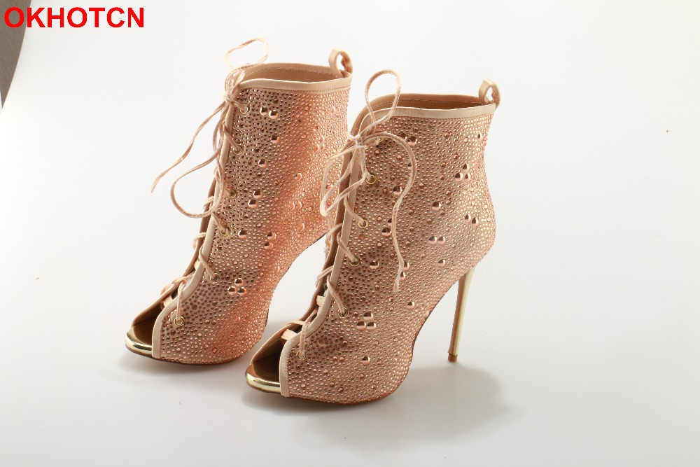 OKHOTCN Lace Up Glitter Rhinestone Women Ankle Boots Cut-out Peep Toe Thin Heels Summer Boots Shoes Woman Sexy Crystal Sandals women summer sandals fashion sexy lace cut out open the toe woman ankle boots thin high heels peep toes shoes sxq0602