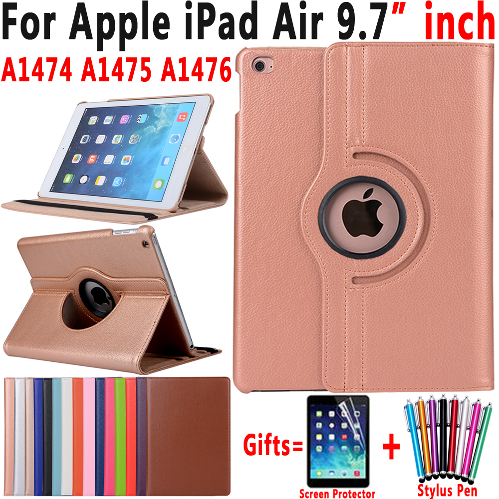 все цены на 360 Degree Rotating Litchi Peattern Leather Smart Sleep Awake Cover Case for Apple iPad Air 1 iPad 5 9.7 inch Coque Capa Funda