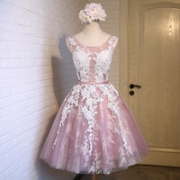Vestidos de festa New Short Pink Lace Flower Banquet Short Prom Dress Slim Sexy A line Evening Party Gown Formal Dresses