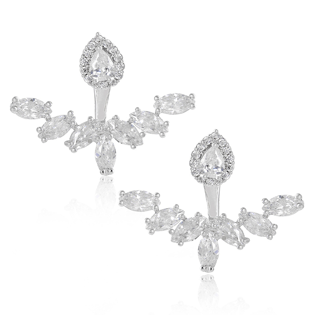 XIUMEIYIZU Rhodium Plated Copper Front Back 2 in 1 CZ Fashion Stud and Ear Jacket Cartilage Cuff Earrings Set