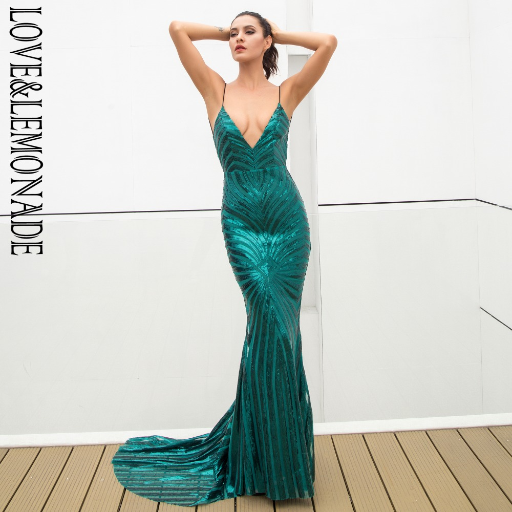 Love Lemonade Sexy Green Deep V Neck Open Back Geometry Sequins Long Dress LM81225