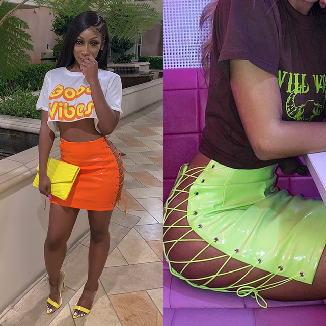 OMSJ 2019 Sexy Club Female Mini Pencil Skirt Women High Waist Lace Up Neon Green Orange Solid Bodycon Hollow Out Bandage Skirts 2