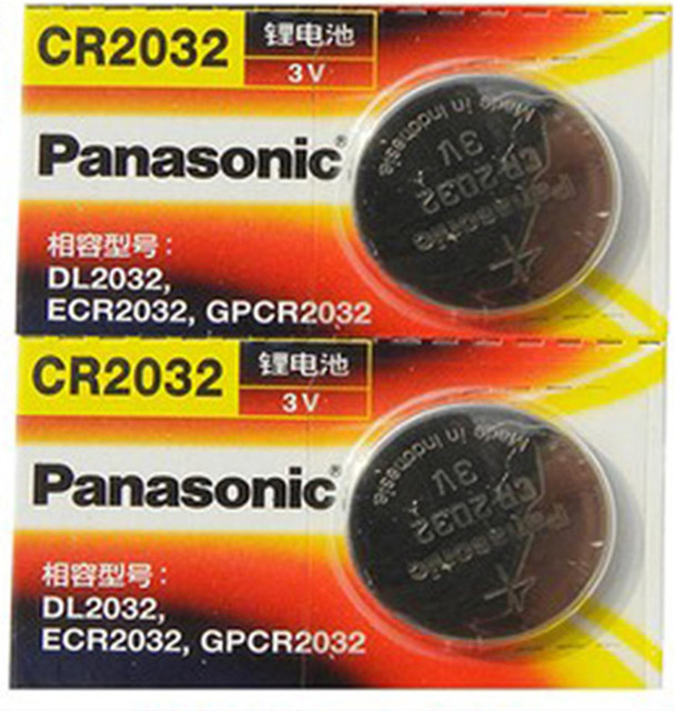 panasonic cr 2032 3v  2 X original brand new battery for PANASONIC cr2032 3v button cell ...