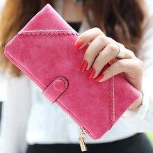 Wholesale 5* ( Long Women Wallet Messenger bags Handbag Retro Dull Polish Purse Multifunctional-rose red