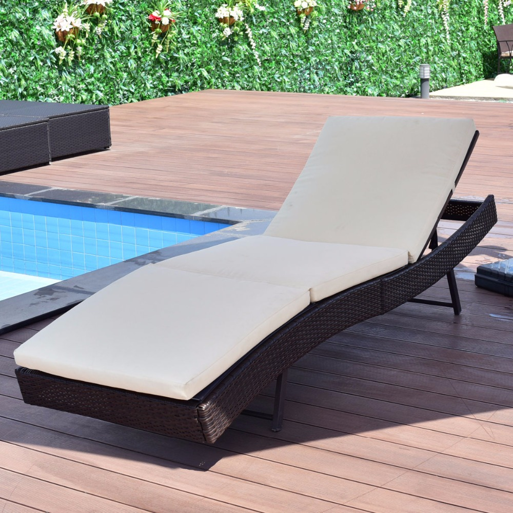Giantex Patio Sun Bed Adjustable Pool Wicker Lounge Chair Portable Outdoor Furniture Garden Sun Lounger With Cushion HW54848